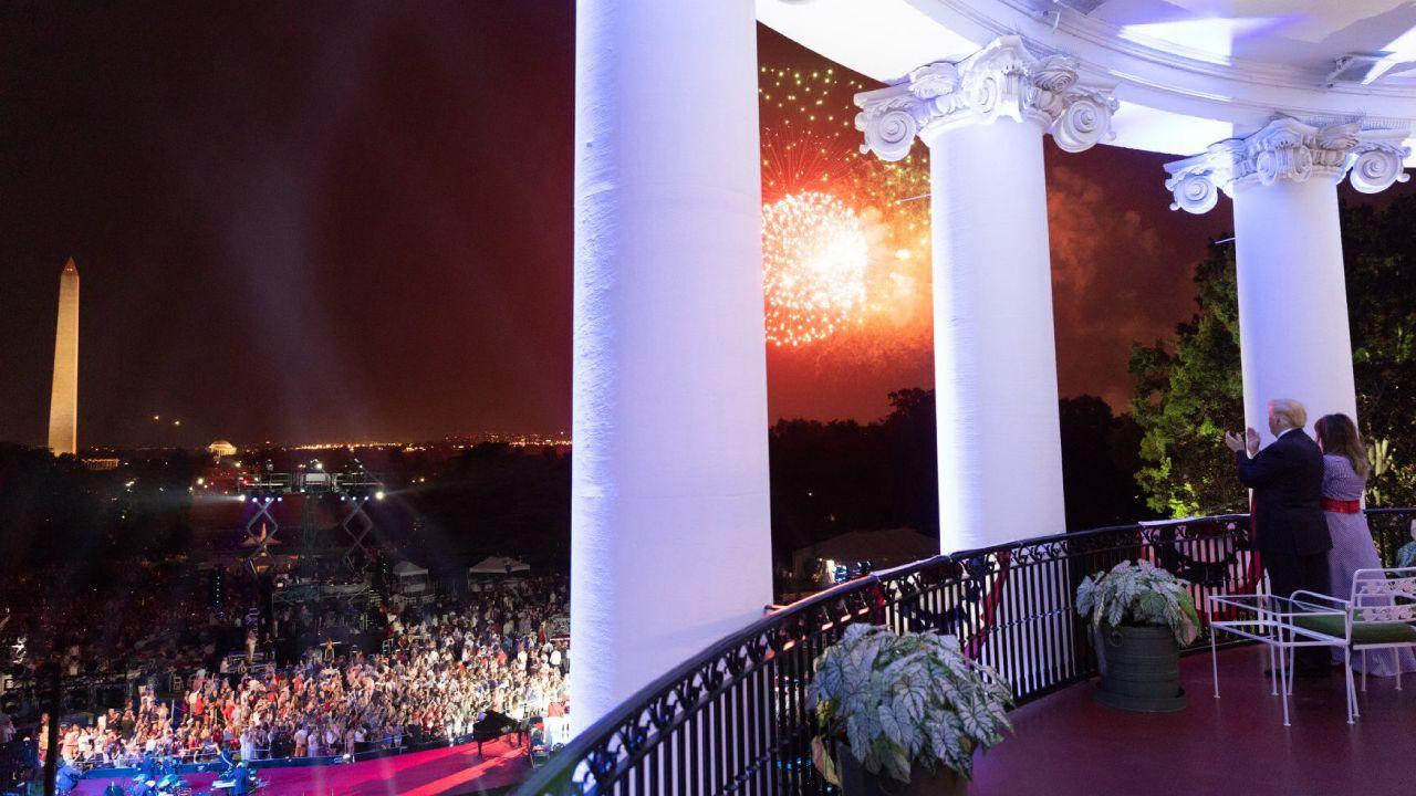 President Donald J. Trump and First Lady Melania Trump watch Fourth of July fireworks at the White House | July 4, 2018 (Official White House Photo by Shealah Craighead)