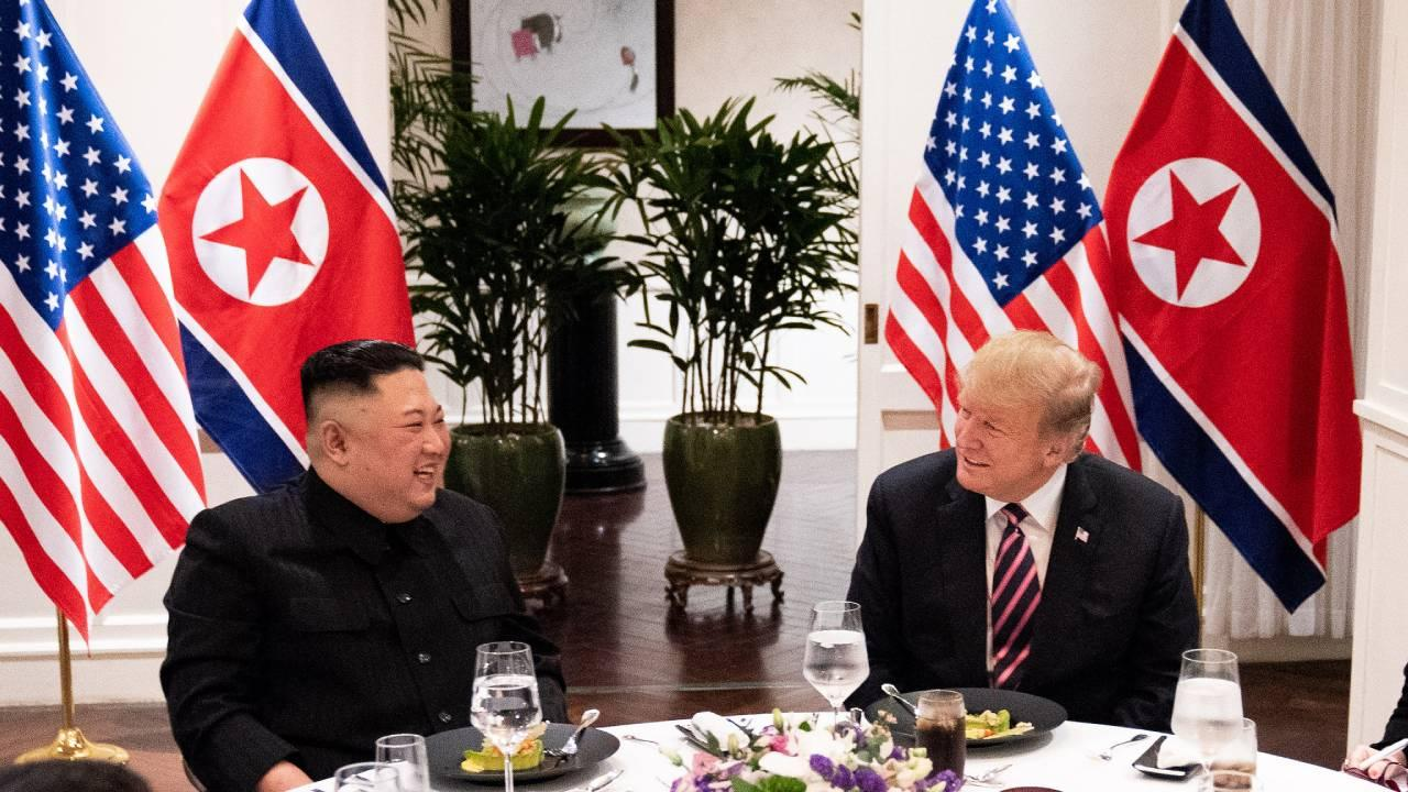 President Donald J. Trump and Kim Jong Un, Chairman of the State Affairs Commission of the DPRK meet for a social dinner Wednesday, Feb. 27, 2019 for their second summit meeting. (Official White House Photo by Shealah Craighead)