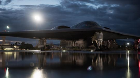 Personnel at Joint Base Pearl Harbor-Hickam, Hawaii, prep an Air Force B-2 Spirit bomber for a training mission, Jan. 17, 2019. (Air Force Senior Airman Thomas Barley)