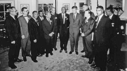 Civil rights leaders meet with President John F. Kennedy in the Oval Office of the White House after the March on Washington, D.C.. August 28, 1963 (Public Domain)