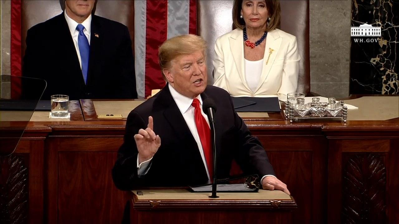 President Trump delivering the State of the Union address to Congress, February 5, 2019.