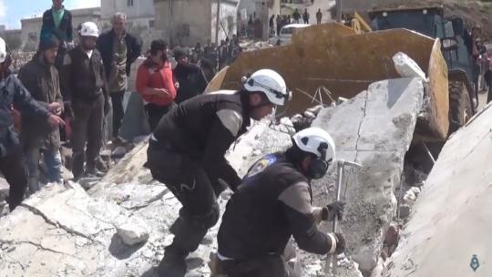 "The ""White Helmets"" in Kafrowaid, a village south of Idlib, March 21, 2017. (Qasioun News Agency/Youtube)"