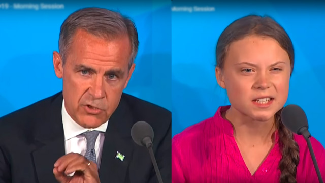 Bank of England head Mark Carney and Fridays for Future leader Greta Thunberg, both addressing the 2019 UN Climate Summit