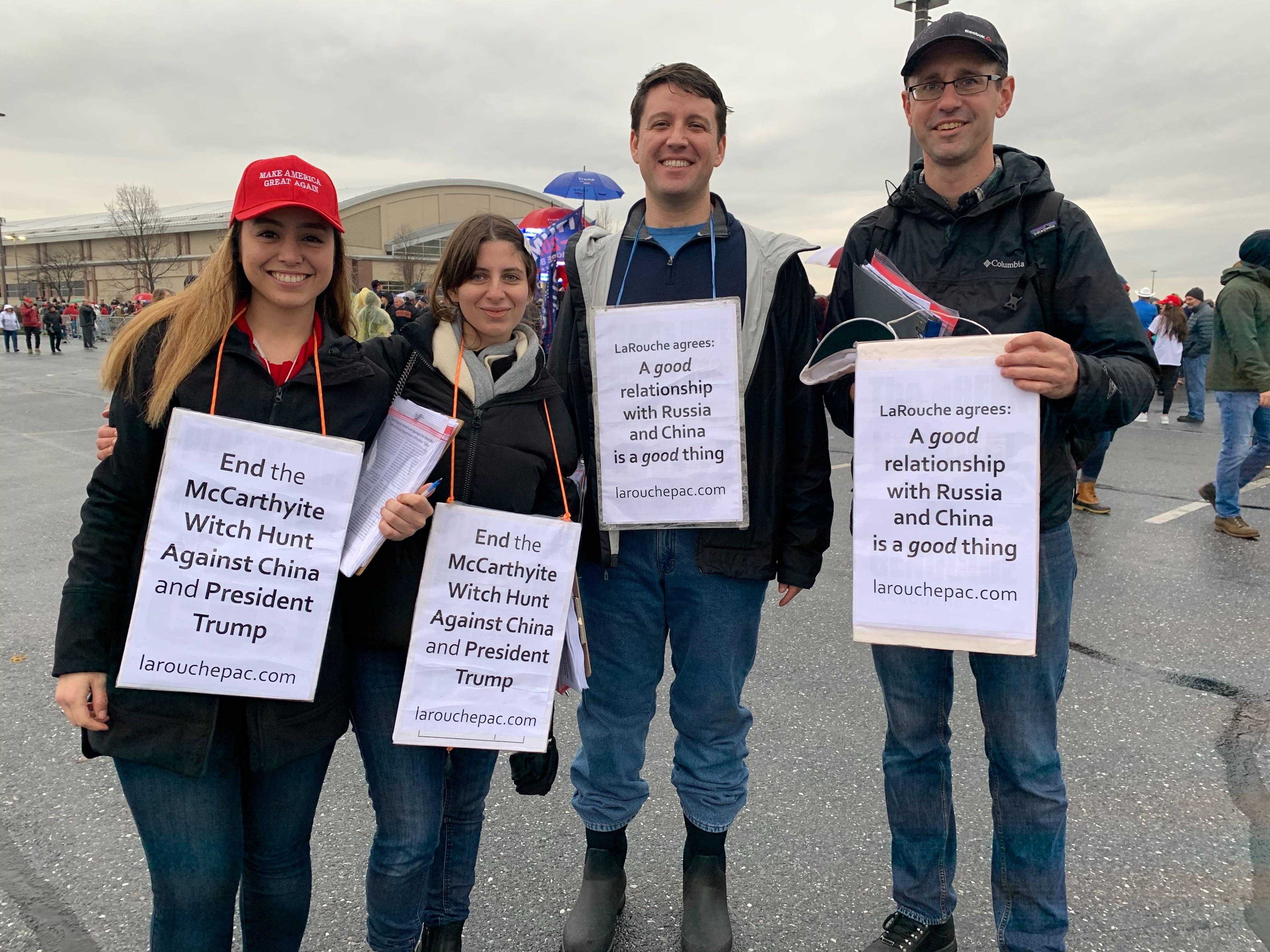 LaRouchePAC organizers at Trump Rally in Hershey, PA