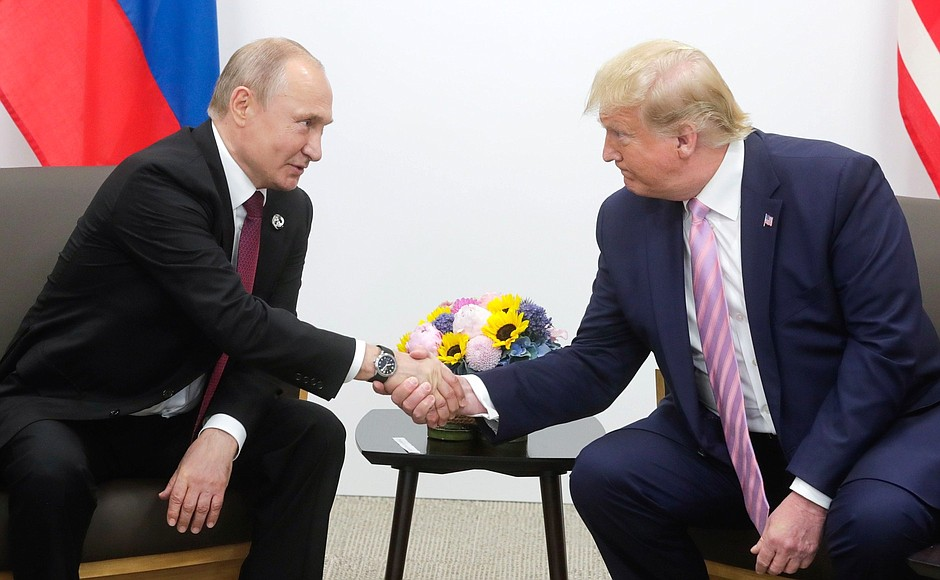 Just over a year ago (June 28, 2019), Russian President Putin and President Trump met face to face on the sidelines of the G20 summit in Osaka, Japan. This dialog and negotiation is exactly what the War Hawks seek to prevent and destroy. Photo: en.kremlin.ru