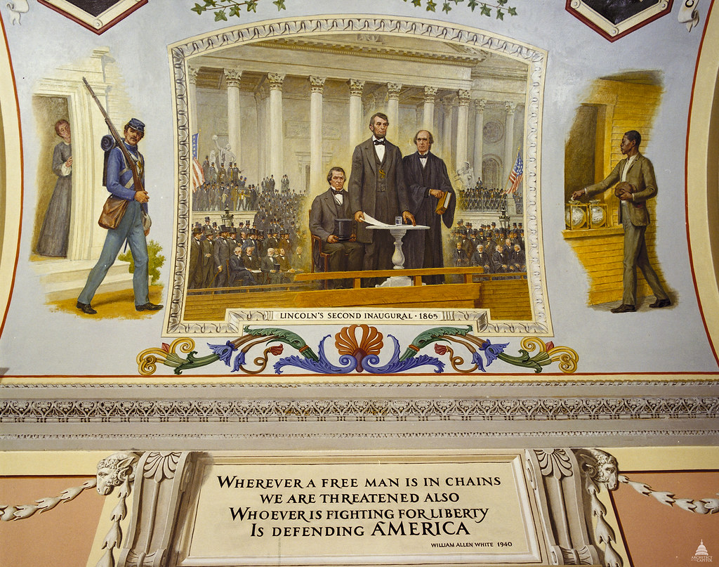 Lincoln's Second Inaugural, 1865. At his inaugural on the steps of the newly completed Capitol, Lincoln expressed his hopes for reconstruction of the Union after the Civil War. Allyn Cox Oil on Canvas 1973-1974 Great Experiment Hall Cox Corridor.