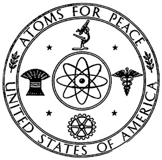Atoms for Peace symbol used by the United States Atomic Energy Commission. Around a representation of an atom are symbolized four areas of civil atomic energy: scientific research, medicine, industry, and agriculture. Two olive branches symbolize peaceful use.