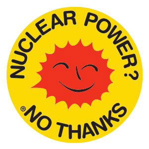 """Malthusians have waged psywar against the public with childish prattle for decades. Including the idea that solar energy is """"free."""" Here the international badge of the anti-nuclear power movement. (English language version) Wikipedia"""