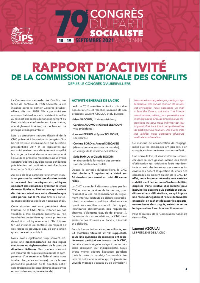 Rapport d'activité de la Commission nationale des conflits