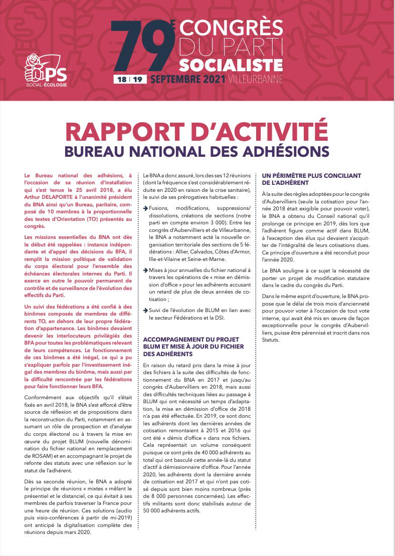 Rapport d'activité du Bureau national des adhésions