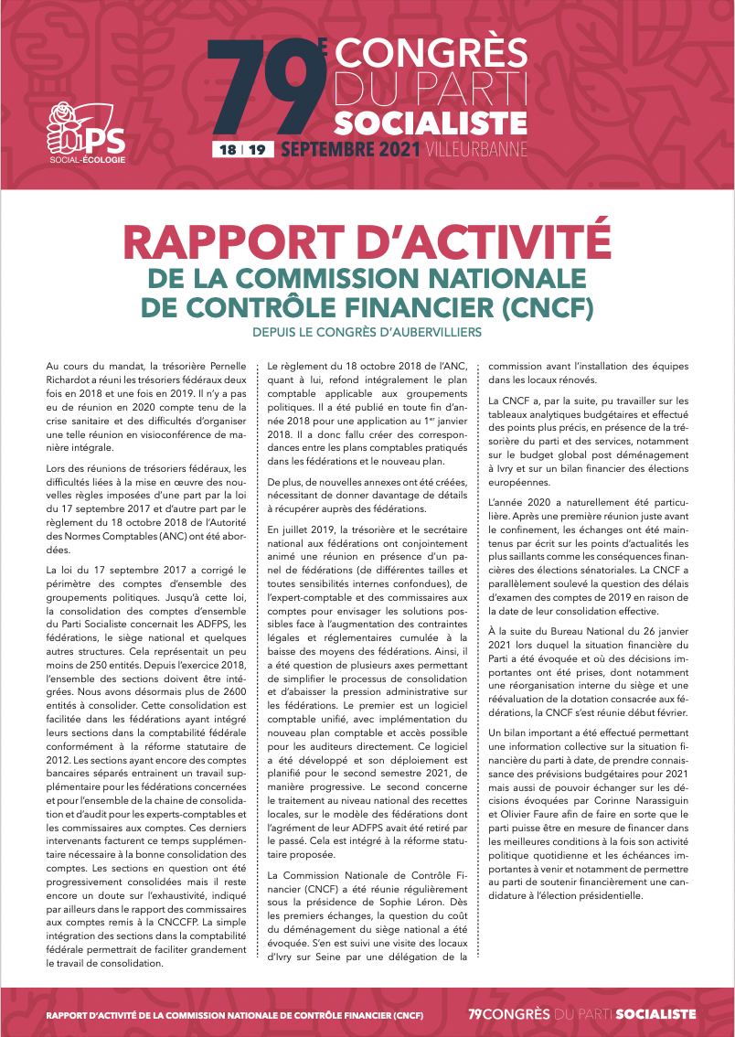 Télécharger le rapport d'activité de la Commission nationale de contrôle financier