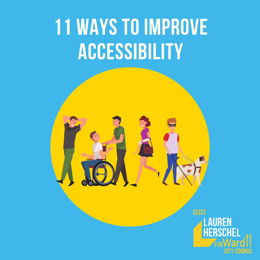 graphic - 11 ways to improve accessibility. Shows illustration of people with a rand of mobility