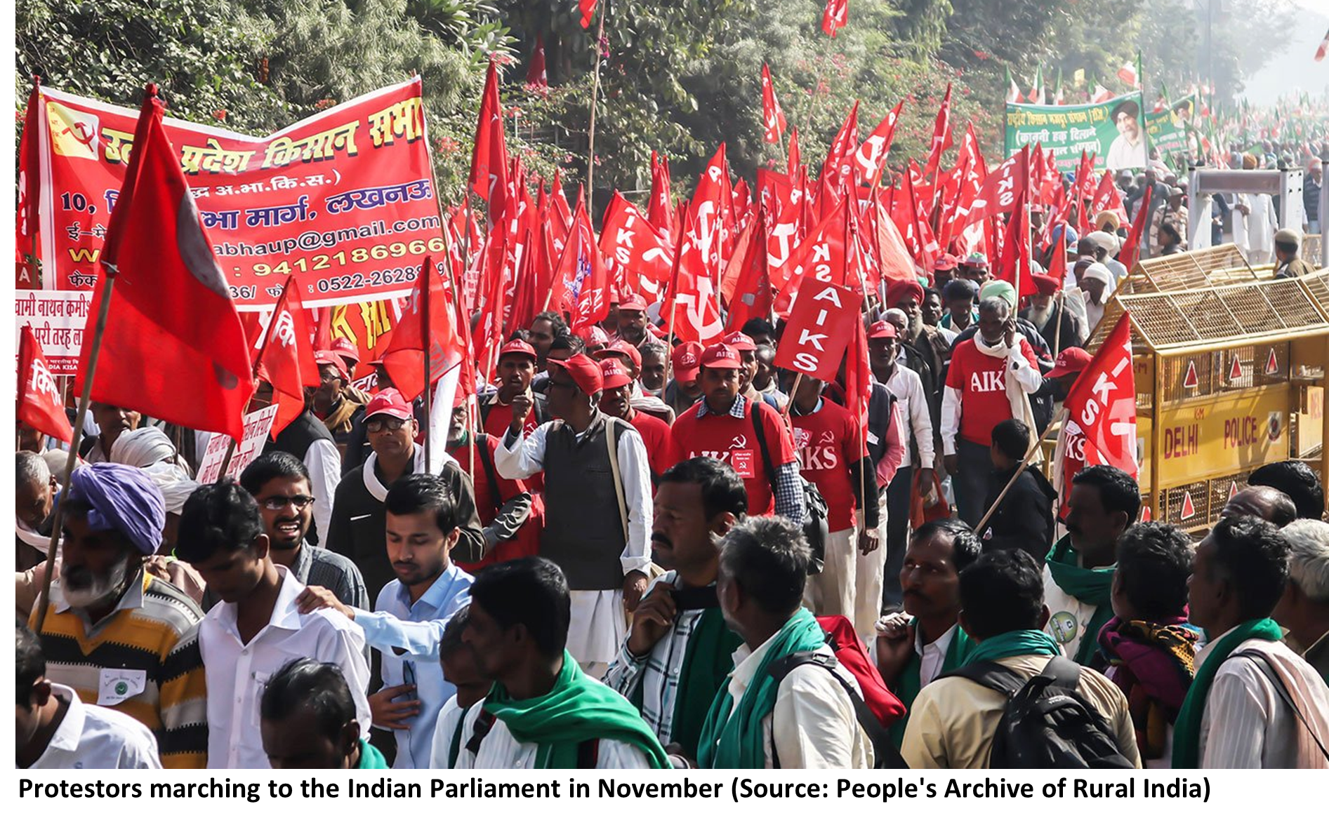 Protestors marching to the Indian Parliament in November