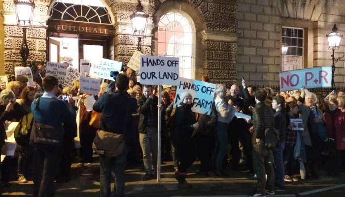 Protesters at the Guildhall