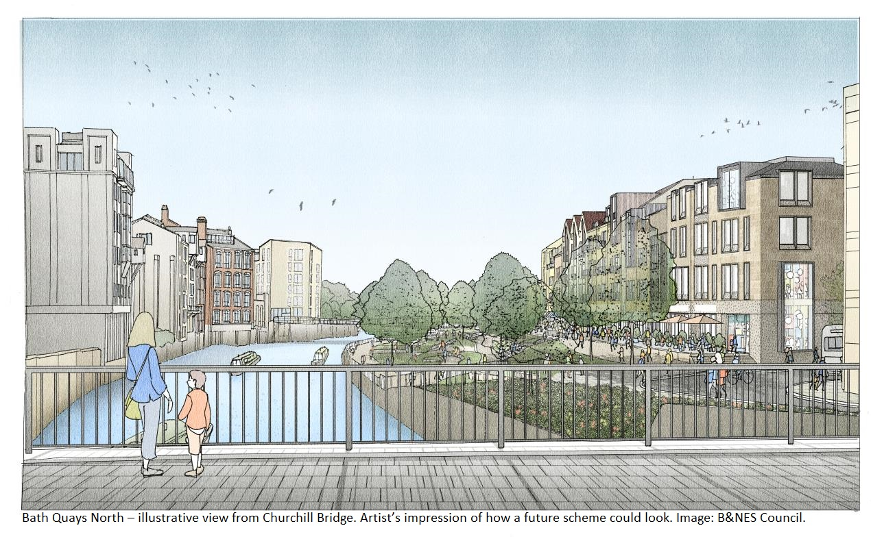Bath Quays North – illustrative view from Churchill Bridge. Artist's impression of how a future scheme could look. Image: B&NES Council.