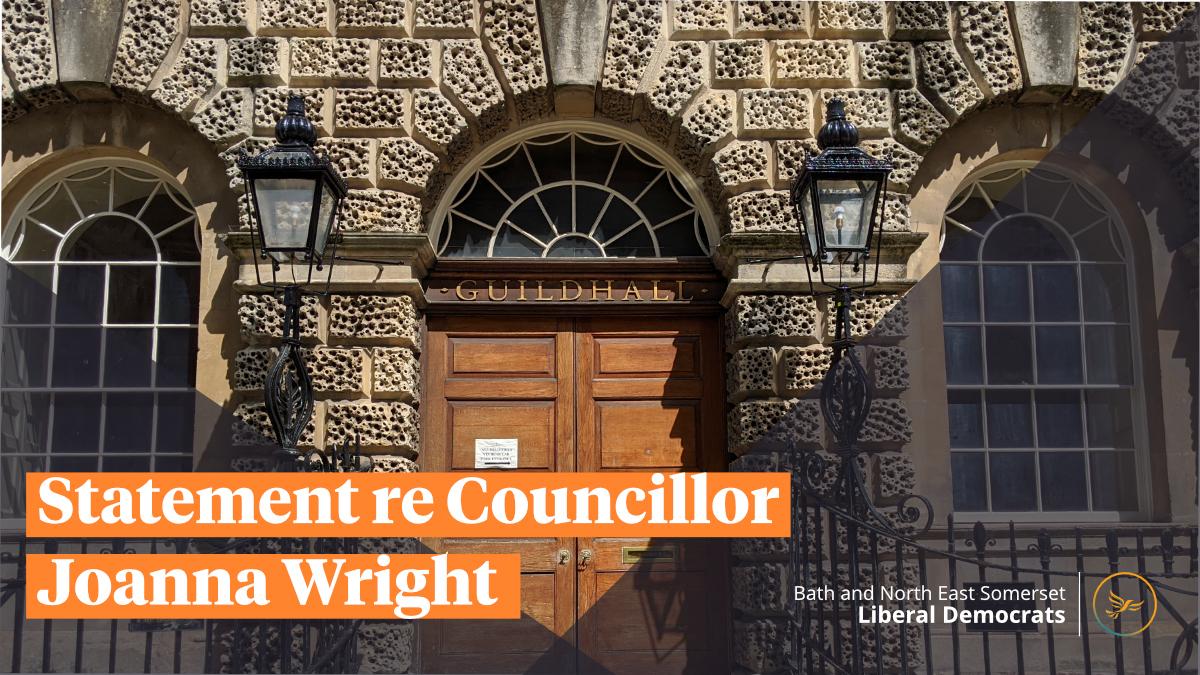 Statement re Cllr Joanna Wright
