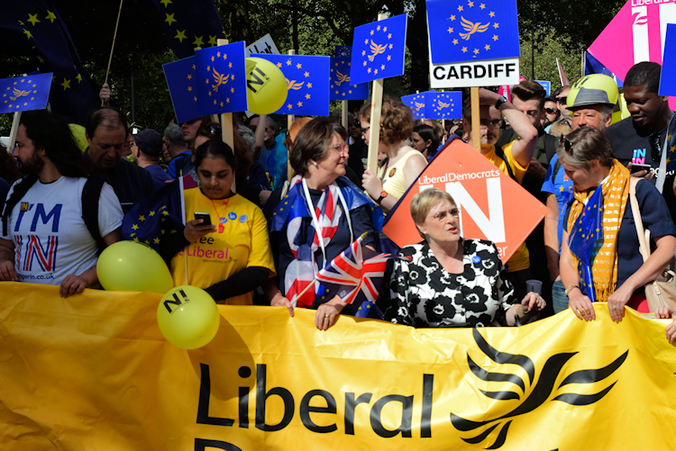 Baroness Brinton and Catherin Beaarder lead the Lib Dem contingent