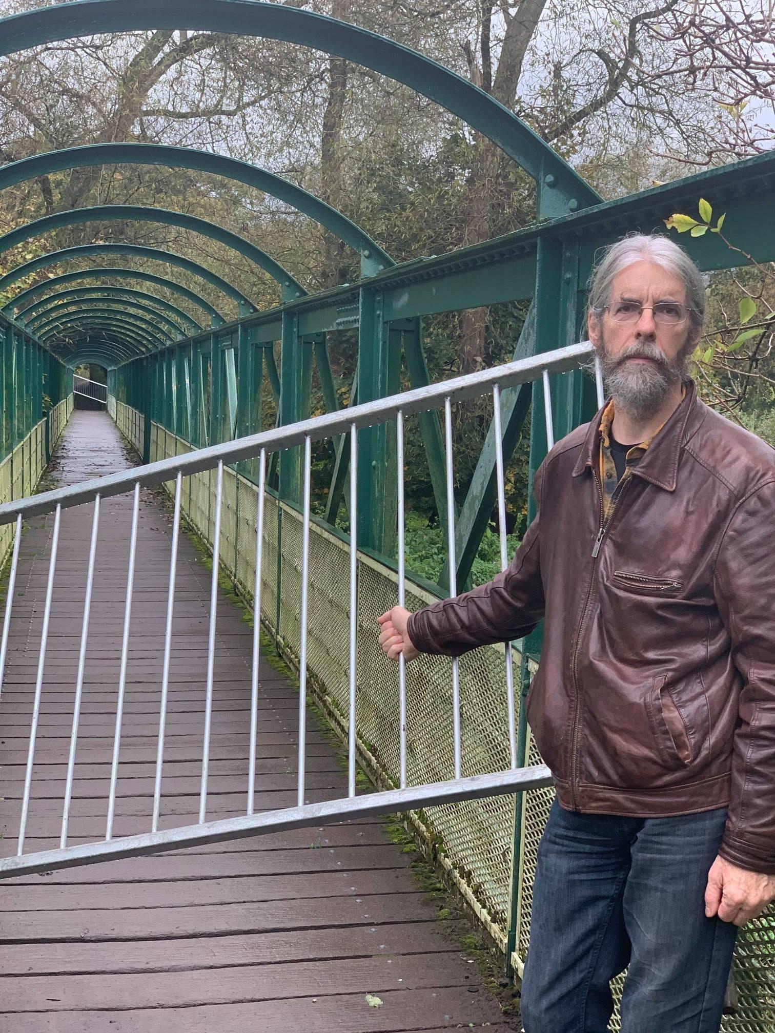 Cllr Alun Griffiths at Closed Buck Bridge