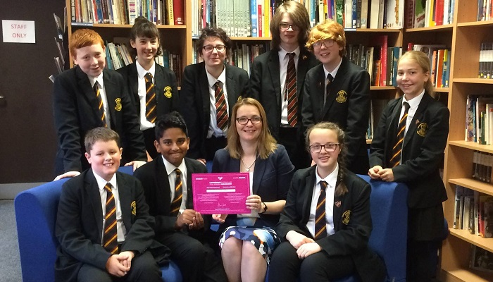 Kirsty presents Crickhowell school council with School Ambassador Status