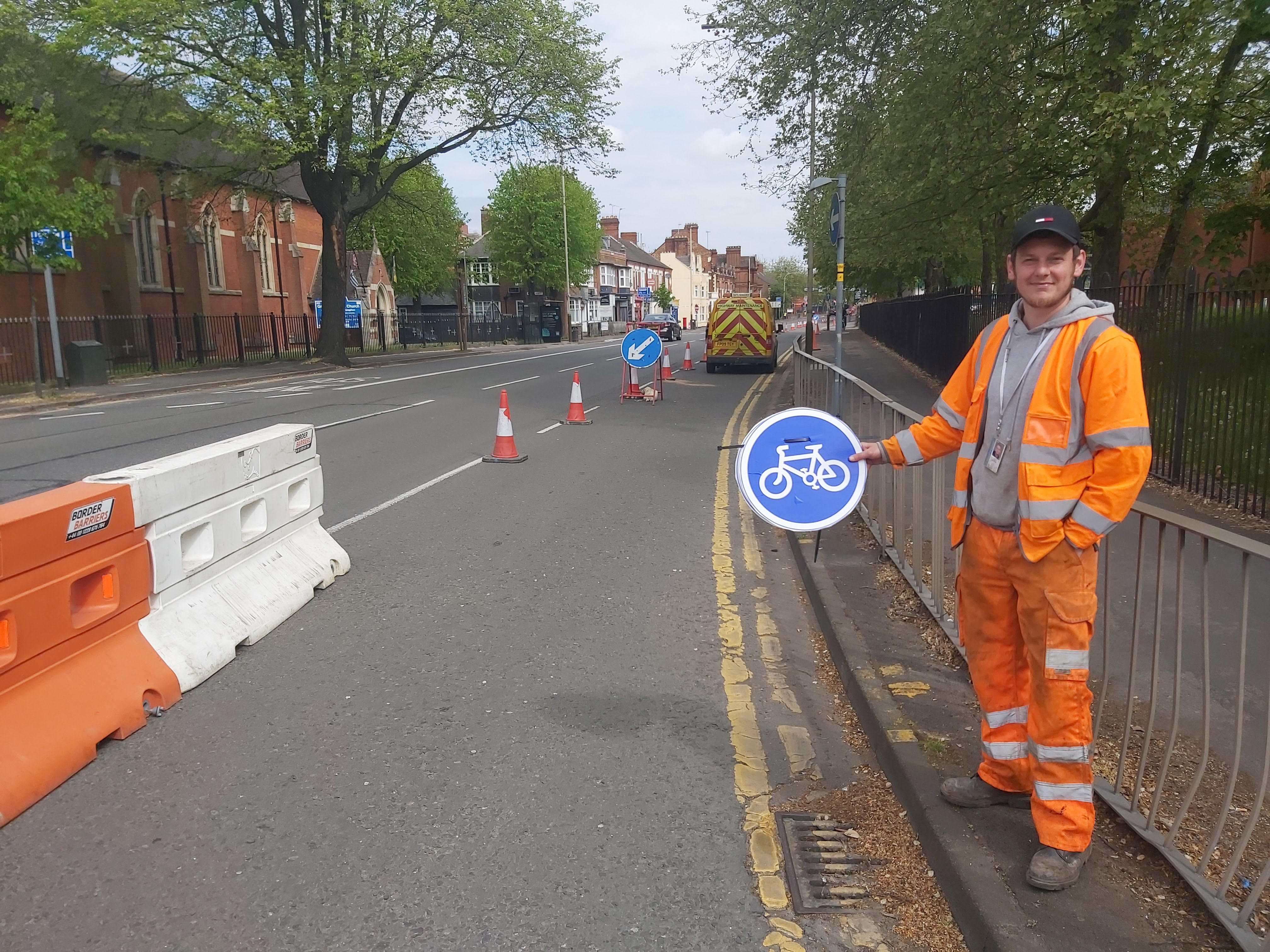 Pop-Up Cycle lane in Leicester for key workers