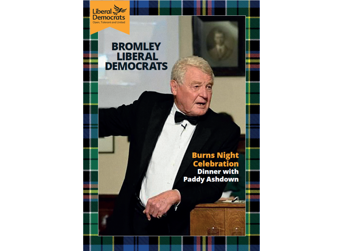 Burns Night Celebration Dinner with Paddy Ashdown