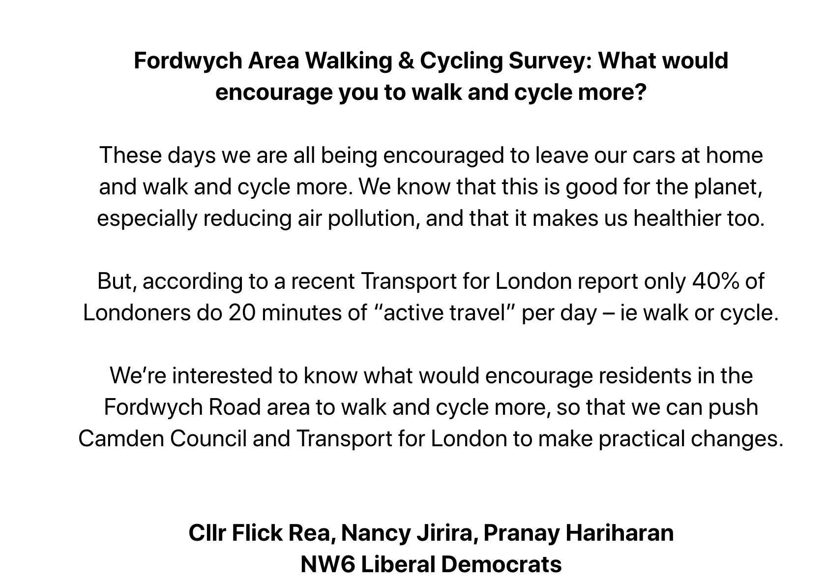Fordwych Area Walking & Cycling Survey: What would encourage you to walk and cycle more?