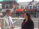 Cllr. Ed Bridges and Eluned Parrott AM on Whitchurch Road