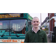 Cllr. Ed Bridges by bus on Whitchurch Road
