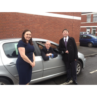 Eluned Parrott AM, Cllr. Ed Bridges and Ashley Wood parking