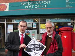 Simon Wakefield and Joseph Carter outside Salisbury Road Post Office