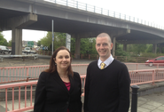 Cllr. Ed Bridges and Eluned Parrott AM by Gabalfa Interchange
