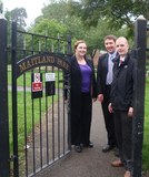 Eluned Parrott AM, Cllr. Gareth Holden and Cllr. Ed Bridges in Maitland Park