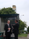 Gareth Holden and Cllr. Ed Bridges by Mynachdy bus stop