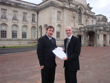 Gareth Holden and Ed Bridges with petition by City Hall