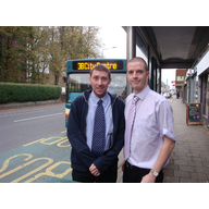 Gareth Holden and Ed Bridges at Whitchurch Road bus stop