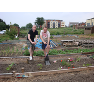 Cllr. Ed Bridges and Gareth Holden at Flaxland Allotments