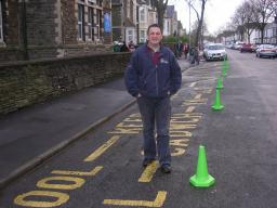 Cllr. Nigel Howells outside Stacey Primary School