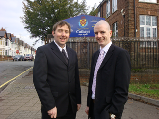 Gareth Holden and Cllr. Ed Bridges by Cathays High
