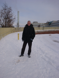 A rather chilly Cllr. Ed Bridges by Flaxland Avenue footbridge, January 2011
