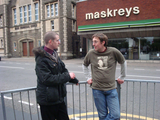 Cllr. Ed Bridges and Gareth Holden by old Maskreys shop