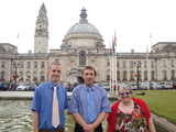 Ed, Gareth and Cathy by City Hall
