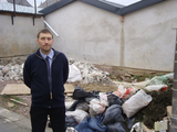 Gareth Holden at Whitchurch Road lane by fly-tipped rubbish