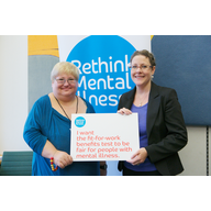 Jenny Willott MP at the MP Capability Assessment in Westminster with a Rethink campaigner.