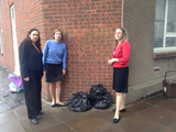 Eluned, Elizabeth and Jenny with bin bags