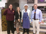 Jenny Willott MP with staff at the Sainsbury's store on Colchester Avenue. From left to right: Sarah Spurway, Jenny Willott MP, Jose Alberto and Mark Trevethan.