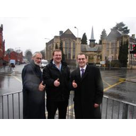Cllr. Wakefield, Cllr. Aylwin and Cllr. Carter outside Cathays Library