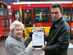 Tom Brake on Woodcote Road seeking views of local resident Pamela Cooper on proposed changes to 726.