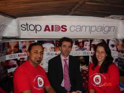 Tom Brake MP pictured with two AIDS campaigners