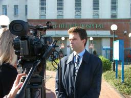 Tom talks to the BBC outside St Helier