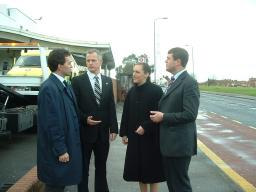 Tom, Brian, Abigail and Paul (left to right) meet outside St Helier Hospital